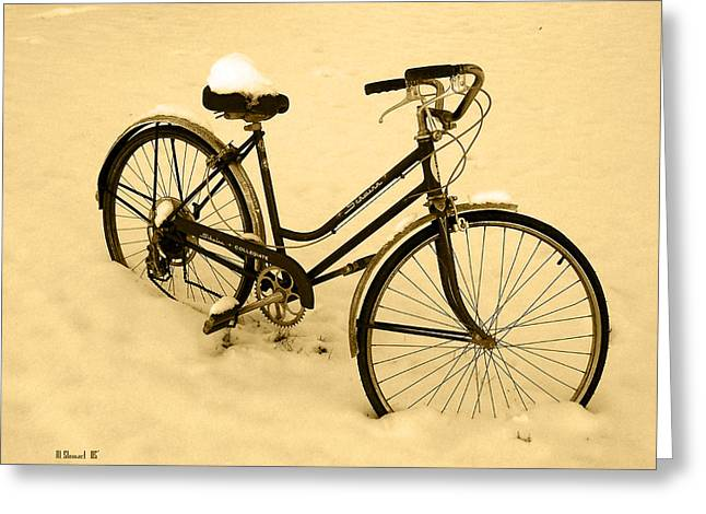 Chilly Ride Greeting Card by Albert Stewart