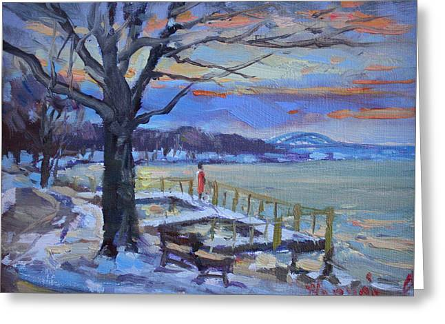 Chilly Sunset In Niagara River Greeting Card