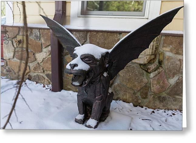 Chimera In The Snow Greeting Card