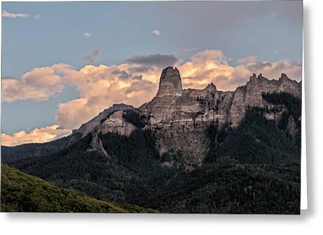 Chimney Peak Panorama Greeting Card by Loree Johnson