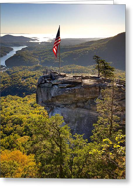 Chimney Rock North Carolina Greeting Cards - Chimney Rock State Park North Carolina Greeting Card by Dustin K Ryan