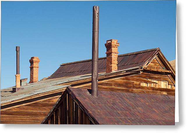 Chimneys And Smokestacks Bodie California Greeting Card by Troy Montemayor