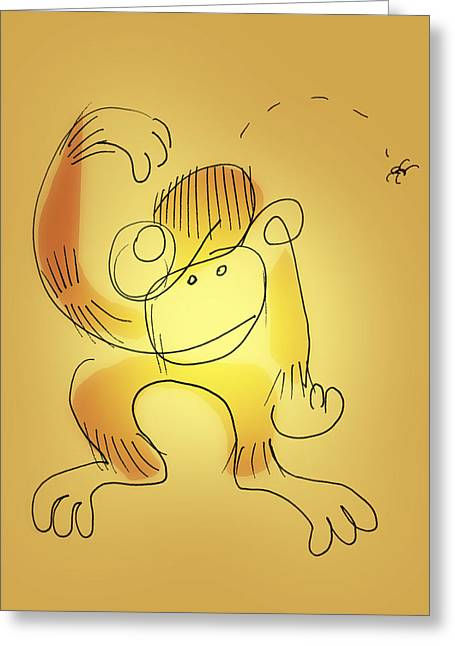 Greeting Card featuring the drawing Chimp And Bug by Keith A Link