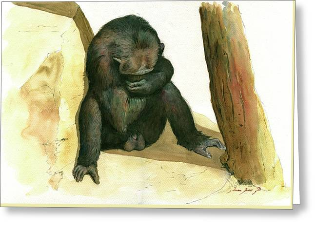 Chimp Greeting Card by Juan Bosco