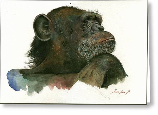 Chimp Portrait Greeting Card by Juan Bosco