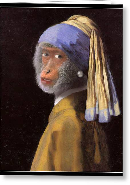 Chimp With A Pearl Earring Greeting Card by Gravityx9  Designs