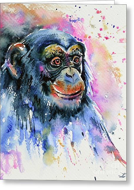 Chimp Greeting Card by Zaira Dzhaubaeva
