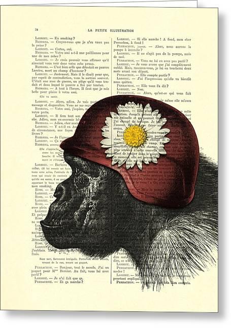 Chimpanzee With Helmet Daisy Flower Dictionary Art Greeting Card