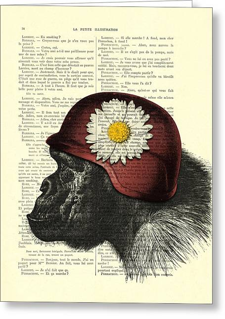 Chimpanzee With Helmet Daisy Flower Dictionary Art Greeting Card by Madame Memento