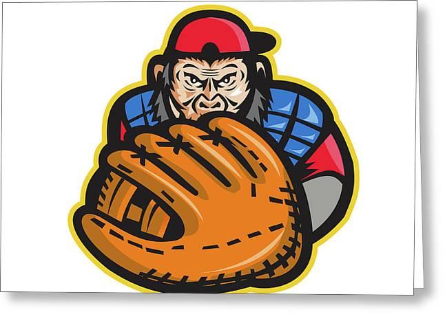 Chimpanzee Baseball Catcher Glove Retro Greeting Card