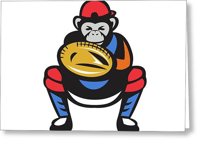 Chimpanzee Baseball Catcher Retro Greeting Card