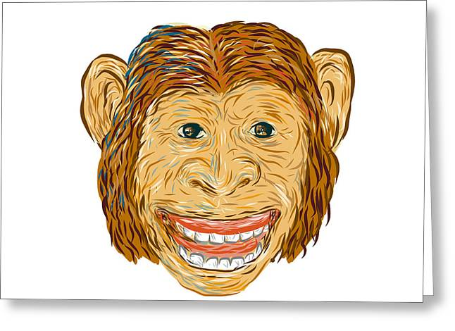 Chimpanzee Head Front Isolated Greeting Card