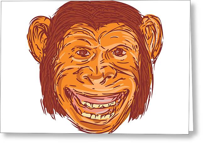 Chimpanzee Head Front Isolated Drawing Greeting Card