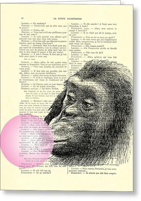 Chimpanzee Pink Bubblegum Nursery Girl's Bedroom Greeting Card