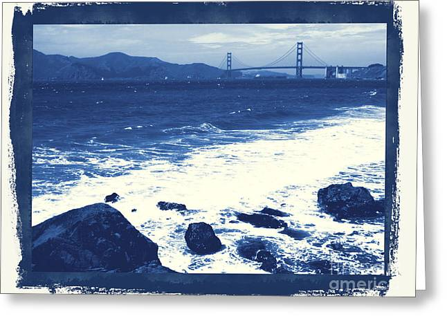 China Beach And Golden Gate Bridge With Blue Tones Greeting Card by Carol Groenen