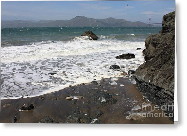 China Beach With Outgoing Wave Greeting Card by Carol Groenen