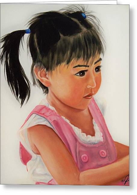 Greeting Card featuring the painting China Doll 2 by Joni McPherson