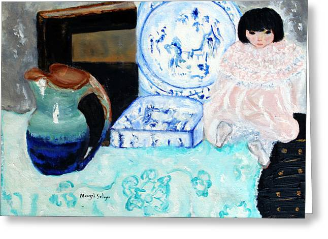Greeting Card featuring the painting China Doll by Aleezah Selinger