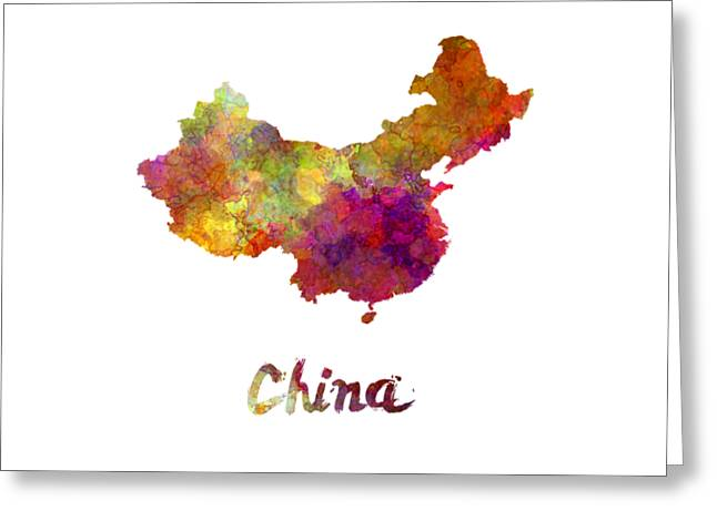 China In Watercolor Greeting Card