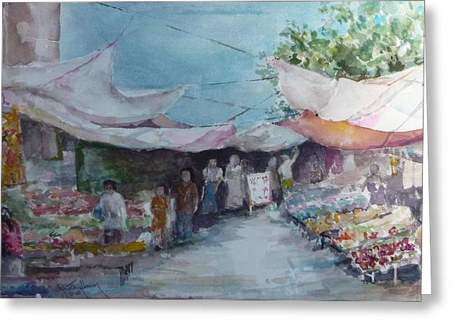 China Market Place Greeting Card by Dorothy Herron