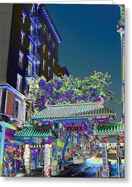 China Town / Shades Of Blue Greeting Card