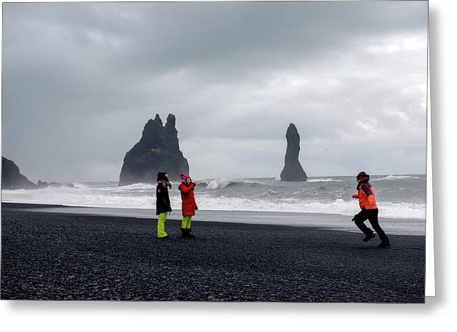 Greeting Card featuring the photograph China's Tourists In Reynisfjara Black Sand Beach, Iceland by Dubi Roman