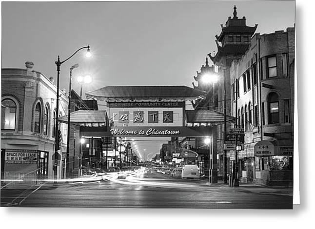 Chinatown Chicago Bw Greeting Card