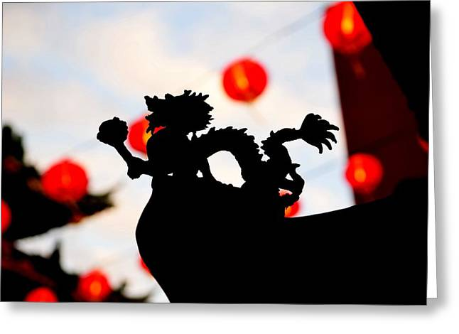 Yang Greeting Cards - Chinatown Dragon Greeting Card by Dean Harte