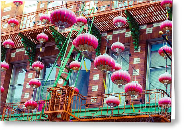 Chinatown Lanterns In Pink Greeting Card by Sonja Quintero