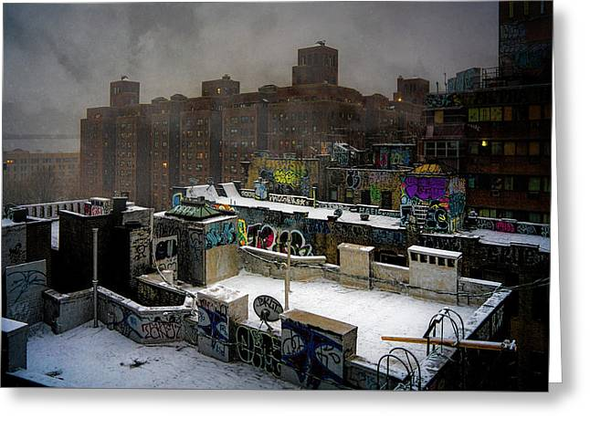 Greeting Card featuring the photograph Chinatown Rooftops In Winter by Chris Lord