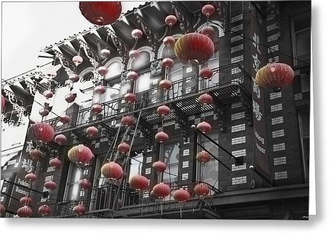 Chinatown San Francisco Greeting Card by Larry Butterworth