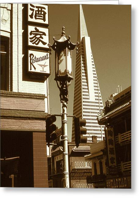 San Francisco Chinatown And Pyramid Greeting Card