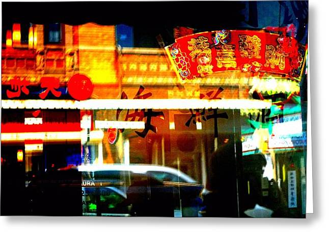 Greeting Card featuring the photograph Chinatown Window Reflections 2 by Marianne Dow