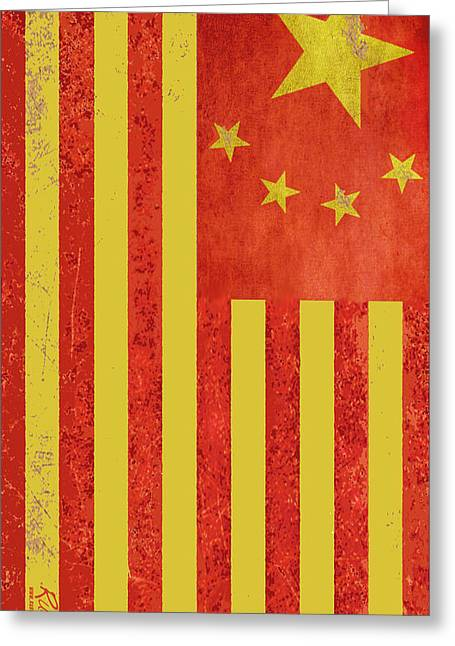 Chinese American Flag Vertical Greeting Card by Tony Rubino