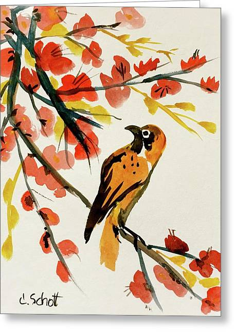 Chinese Bird With Blossoms Greeting Card