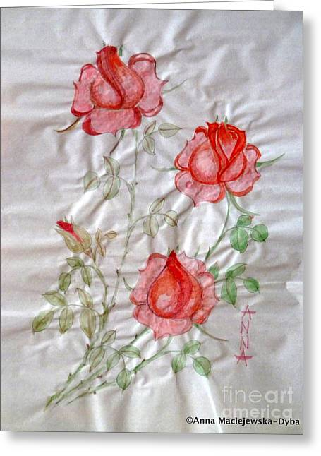 Chinese Brush Painting  Red Rose Greeting Card
