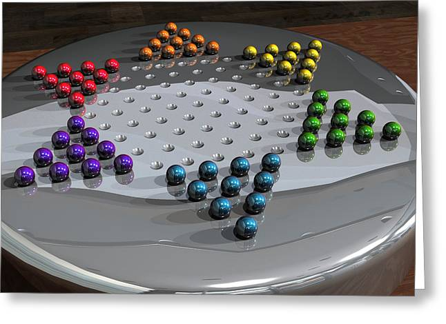 Chinese Checkers Greeting Card by James Barnes
