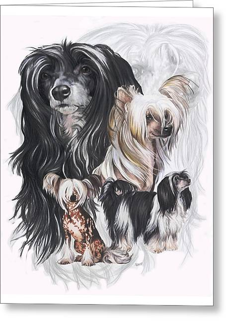 Chinese Crested And Powderpuff W/ghost Greeting Card by Barbara Keith