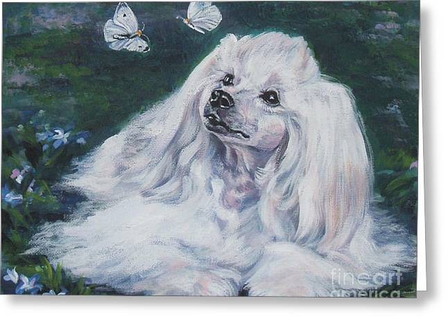 Chinese Crested Powderpuff With Butterflies Greeting Card by Lee Ann Shepard