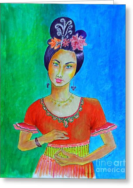 Chinese Dancer -- The Original -- Portrait Of Asian Woman Greeting Card