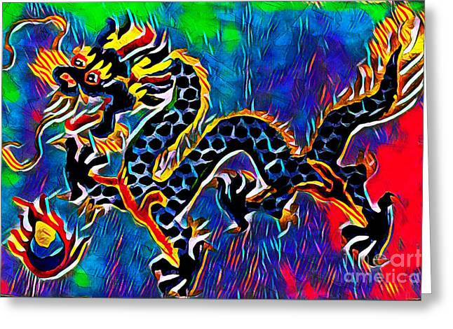 Greeting Card featuring the mixed media Chinese Dragon by Lita Kelley