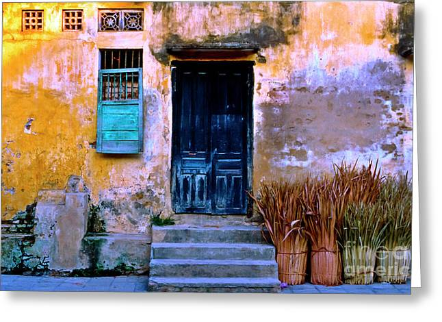 Greeting Card featuring the photograph Chinese Facade Of Hoi An In Vietnam by Silva Wischeropp