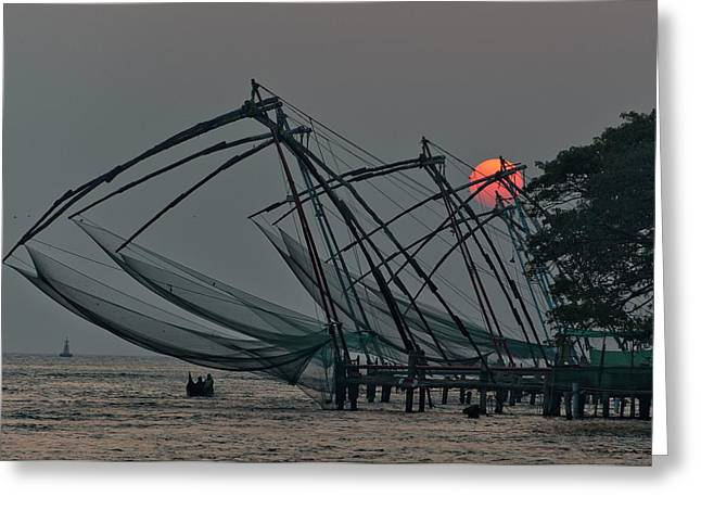Greeting Card featuring the photograph Chinese Fishing Nets, Cochin by Marion Galt