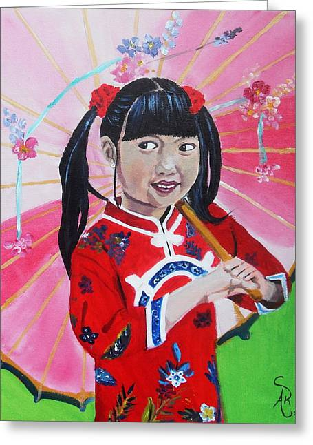 Chinese Girl Greeting Card by Andrea Realpe