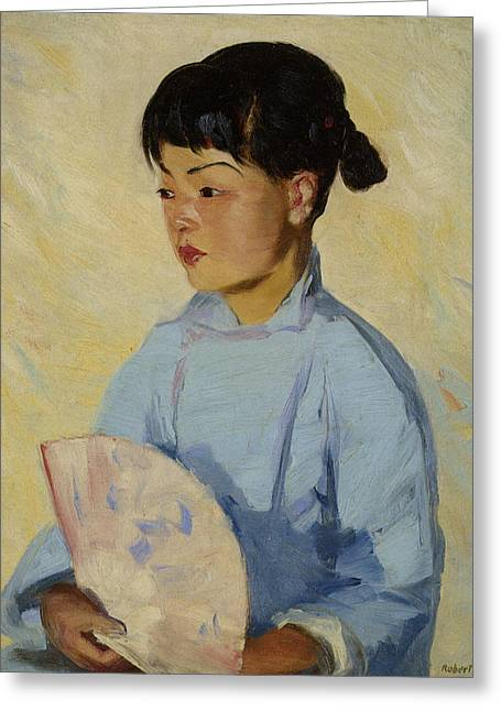 Chinese Girl With Fan Greeting Card by Robert Henri