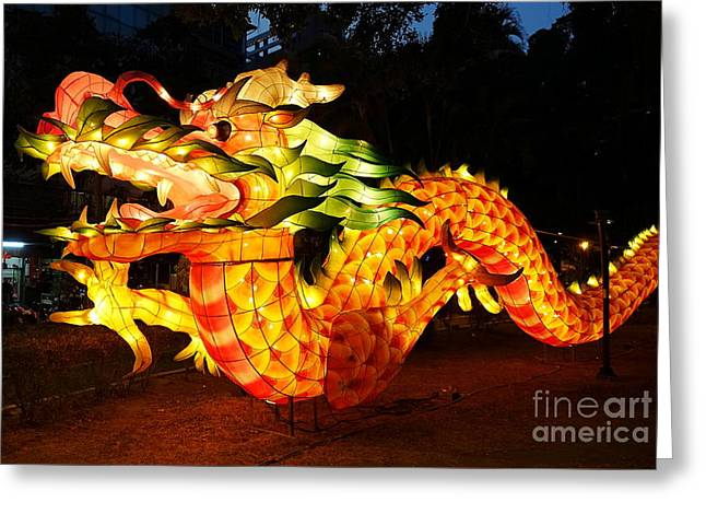 Greeting Card featuring the photograph Chinese Lantern In The Shape Of A Dragon by Yali Shi