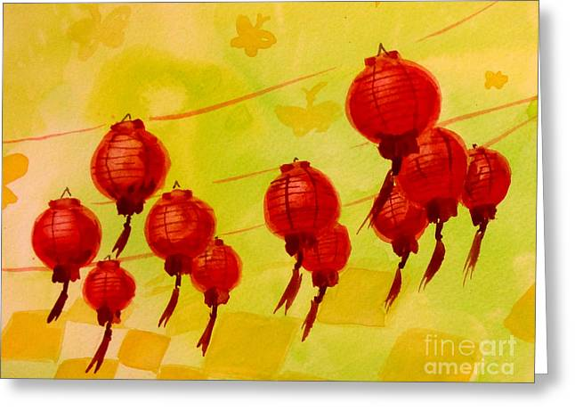 Greeting Card featuring the painting Chinese Lanterns by Maria Langgle