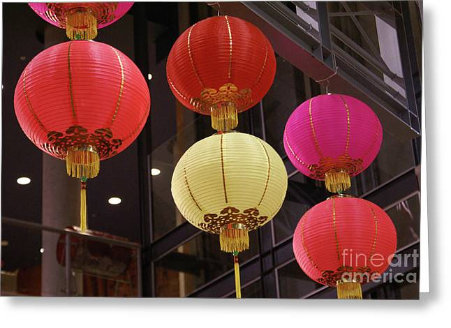 Chinese Lanterns Vancouver Chinatown Greeting Card by John  Mitchell