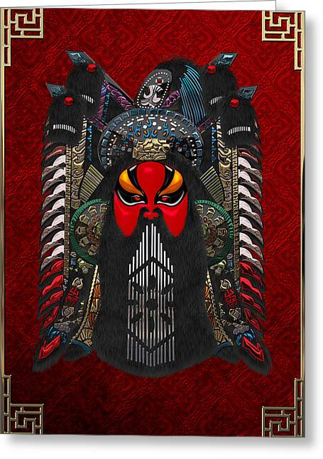 Chinese Masks - Large Masks Series - The Red Face Greeting Card
