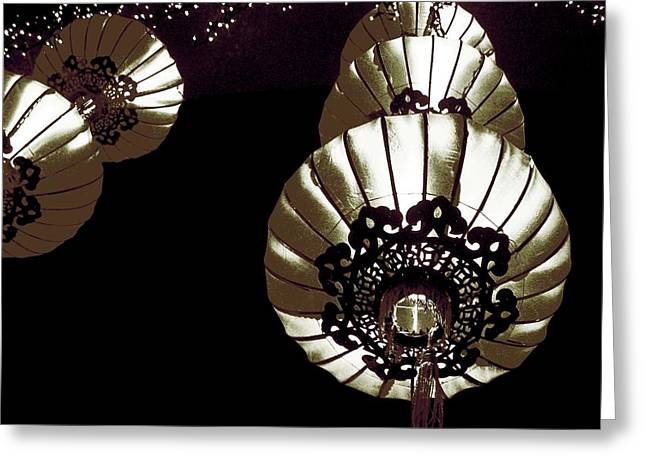Chinese New Year Lantern Black White Greeting Card